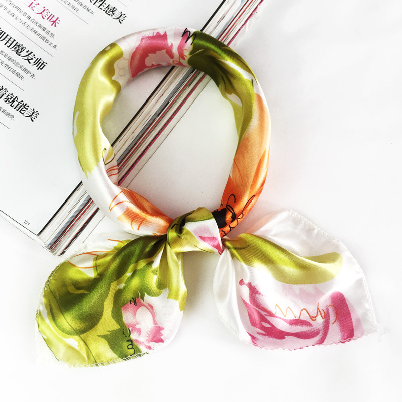 50*50cm 2019 New Fashion Silk Scarf Women Small Soft Squares Decorative Head Scarf Multicolor Stripe Print Kerchief Neck Wrap