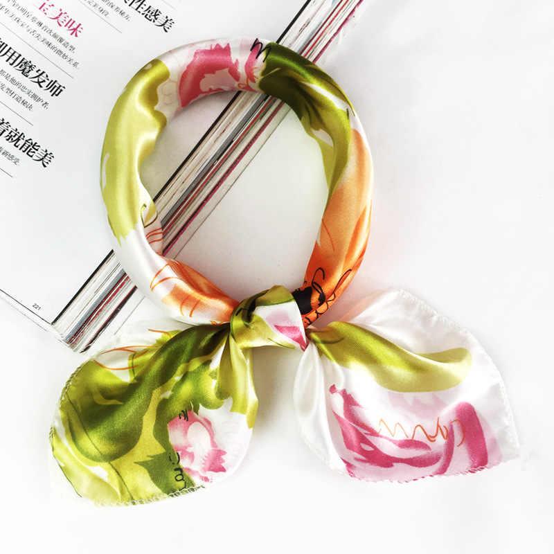 50*50cm 2019 di Nuovo Modo Donne Sciarpa di Seta di Piccolo Morbido Piazze Decorativo Testa Sciarpa Multicolore Della Banda di Stampa Fazzoletto del collo Wrap