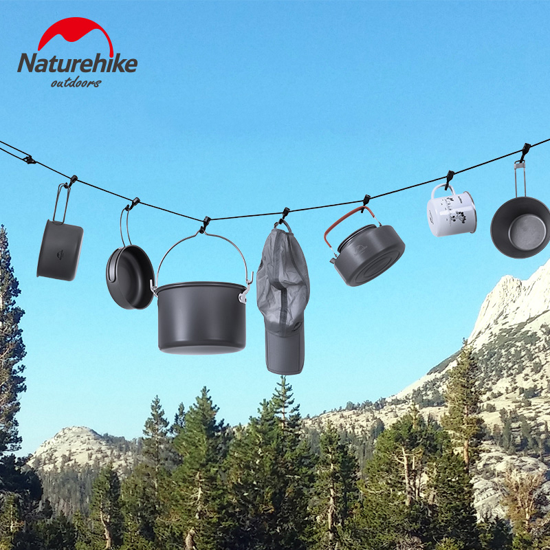 NatureHike Portable Travel Clothesline for Home & Outdoor Camping Trip Hotel Adjustable Camping Rope with Carabiner and Hooks|Tent Accessories| |  - title=