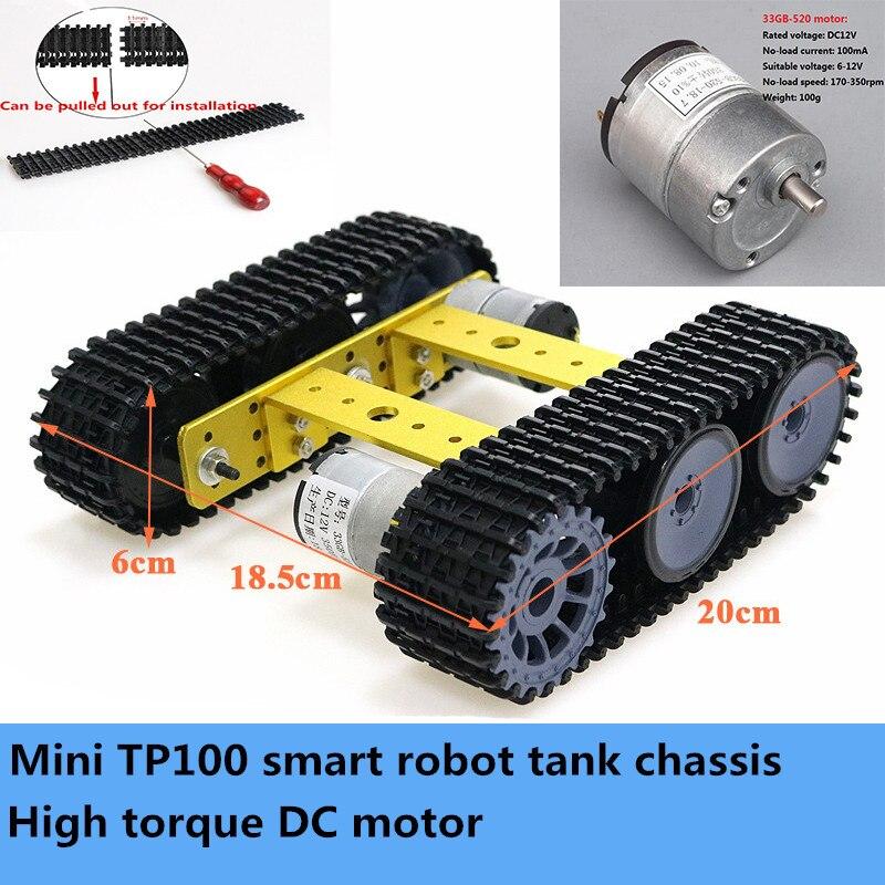 Unassembled Smart Crawler Robot Education Mini TP100 Metal Rc Tank Chassis Kit High Torque 33GB-520 DC Motor DIY For Arduino