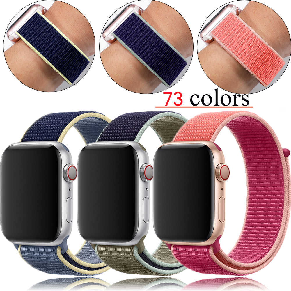 Olahraga Loop Tali Nilon untuk Apple Watch 4 Apple Watch 5 Band Correa IWatch Band 44 Mm 40 Mm 38 Mm 42 Mm Apple Watch seri 4 3 2 1