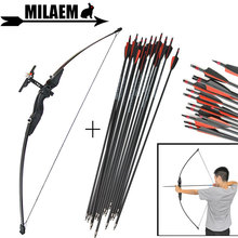 цена на 30/40lbs Archery Recurve Bow With Fiberglass Arrow Spine 500 Straight Bow And Sight Bow And Arrow Hunting Shooting Accessories