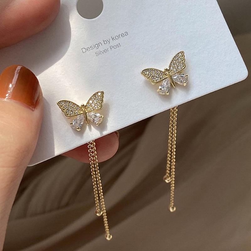 Women Long Tassel Earrings Korean Sweet Butterfly Rhinestone Earring Elegant Geometric Hanging Earring Jewelry 2021 New
