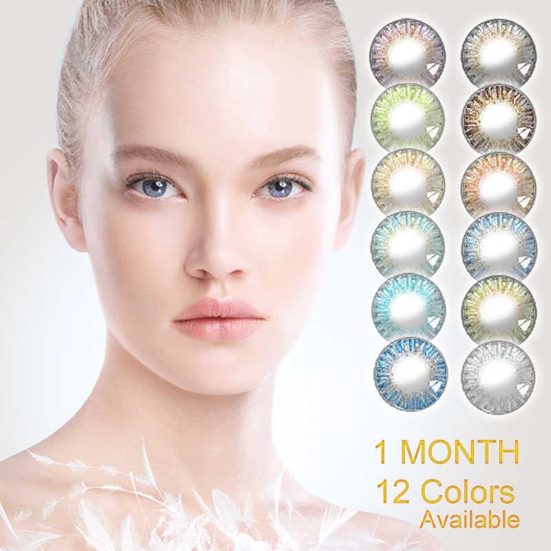 2 sztuk/para 3 Tone Series Calk kolorowe soczewki kontaktowe miesięczne kolorowe soczewki oczu kolorowe soczewki kontaktowe makijaż