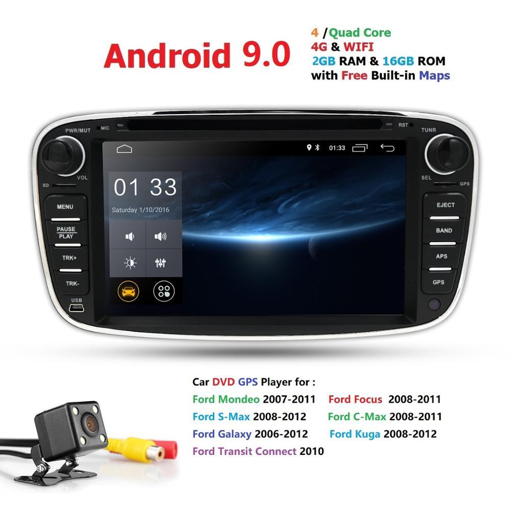 Quac core Pure Android 9.0 voiture DVD Navigation pour Ford Mondeo s-max c-max Focus caméra de recul DVR 4G dongle OBD2 DAB + caméra de carte