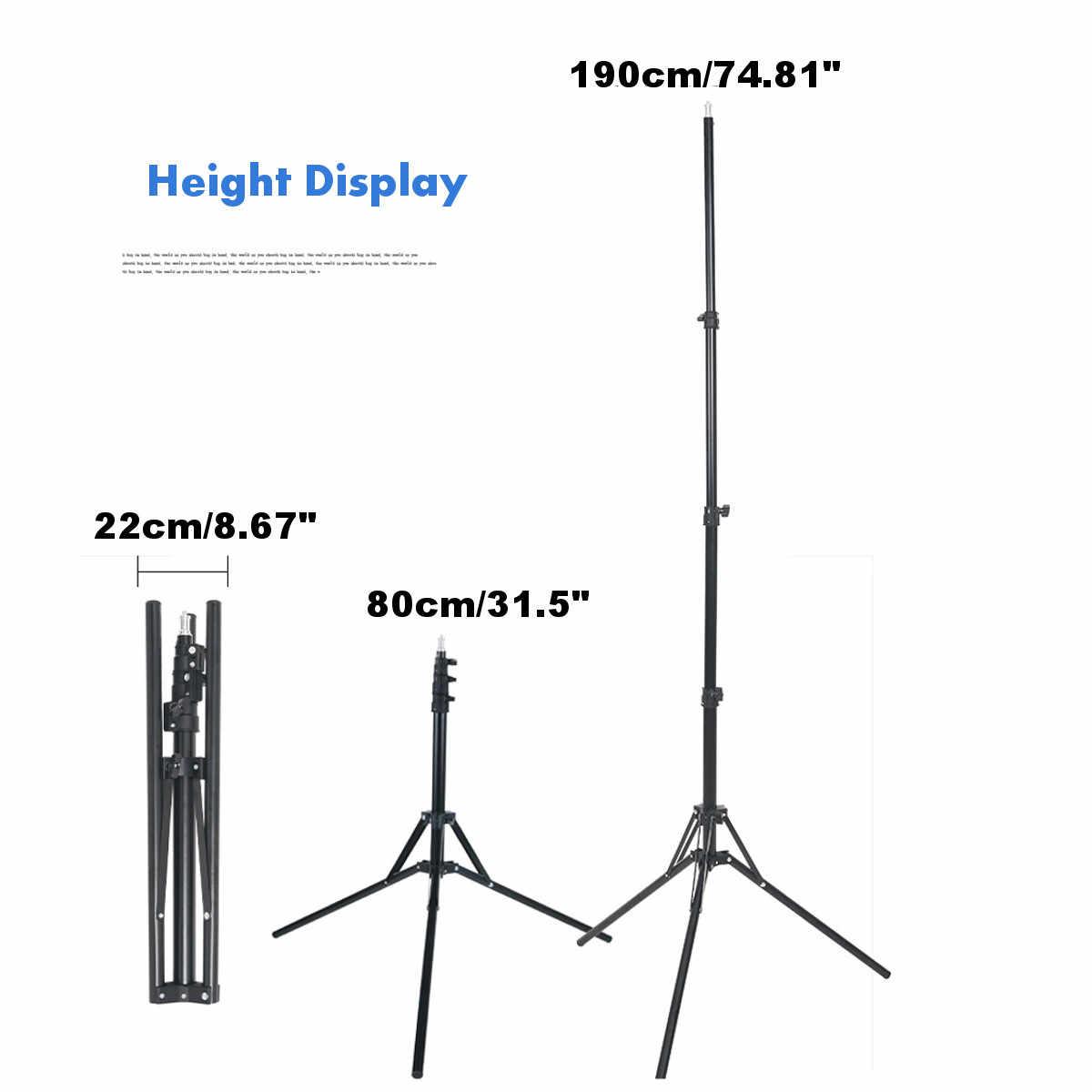 80-190 ซม.การถ่ายภาพขาตั้งกล้องสตูดิโอแฟลชโทรศัพท์มือถือร่มสีดำ