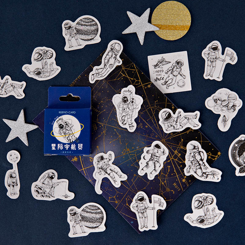 45 Pcs/Box Space Astronaut Stickers Cute Stationery Stickers Decorative Stickers For DIY Album Diary Scrapbooking Label Sticker