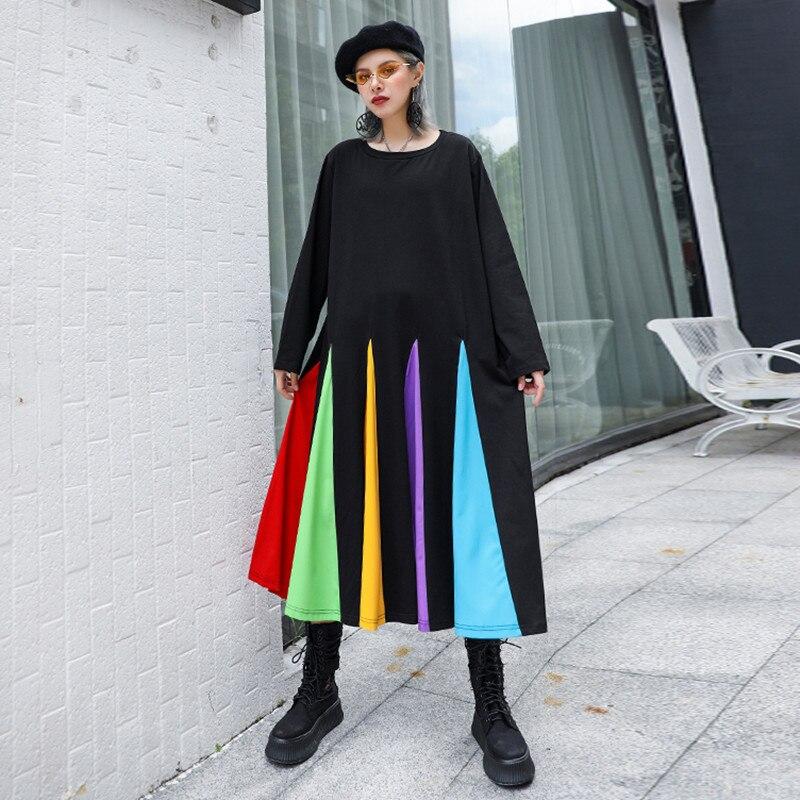 Новинка 2019, женские платья свободного кроя размера плюс в стиле пэчворк, Осень зима, модное повседневное разноцветное платье с круглым выре