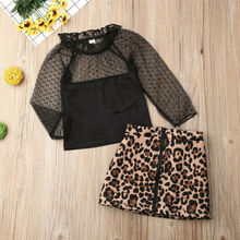 New Sumnmer Toddler Kid Baby Girl Lace Black Tops+Leopard Sh