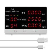 Usb medidor de dióxido carbono multifuncional display digital alta precisão co co2 hcho tvoc detector analisador qualidade do ar monitor