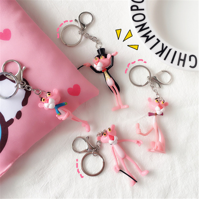 Cartoon Cute Animal Anime Pink Panther Keychain Rabbit Fur Ball Pom Pom Bells Key Chains Women Car Bag Charms Pendan