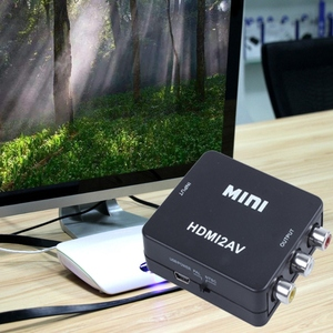 Image 3 - 미니 HDMI to 3RCA CVBS 컴포지트 비디오 AV 컨버터 어댑터 TV VHS VCR DVD 블랙
