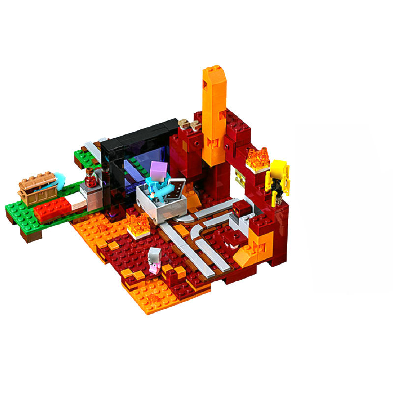The Nether Portal Building Block With Action Figures Compatible LegoINGlys MinecraftINGlys Sets Toys For Children Gifts 21143