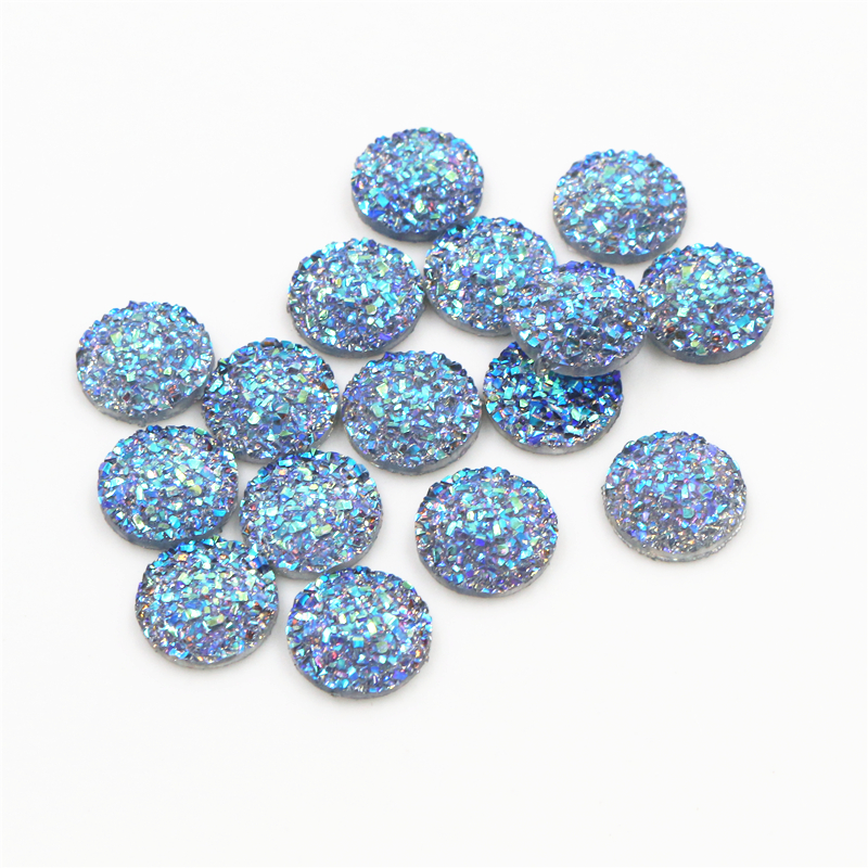 New Fashion 40pcs 12mm Fashion Gray AB Plated Colors Flat Back Resin Cabochon For Bracelet Earrings Accessories G1-18