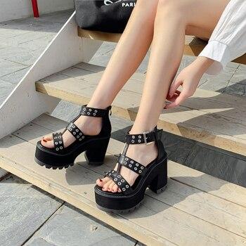 Vintage Punk Gothic shoes Sandals woman gladiator Platform women open toe Gladiator LJB28