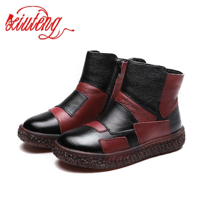 Xiuteng/Новые весенние ботинки на плоской подошве с мягкой подошвой; повседневная кожаная женская обувь ручной работы; зимняя обувь с круглым носком|Полусапожки|   | АлиЭкспресс