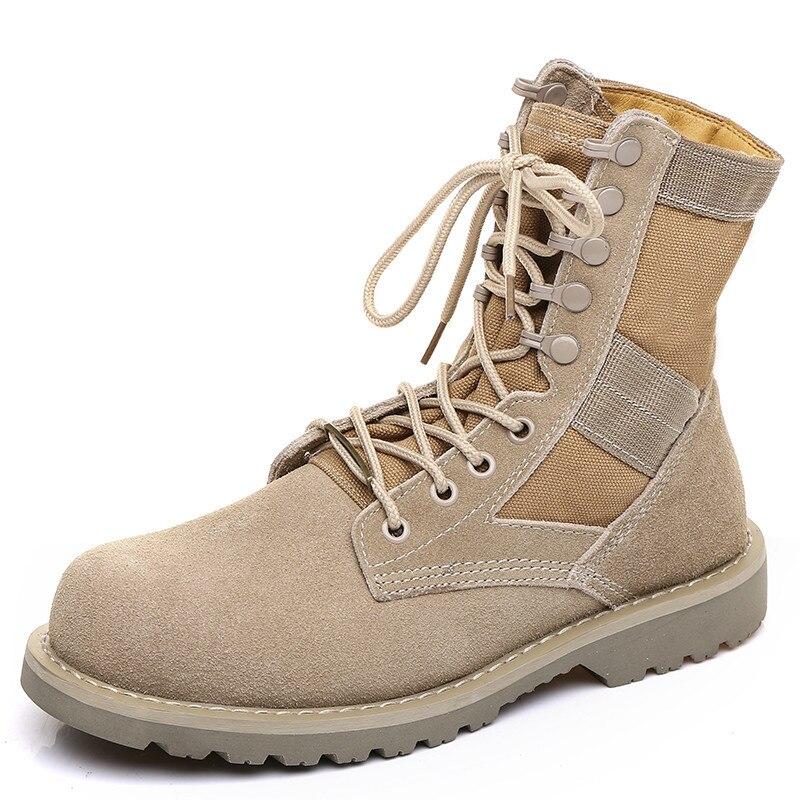 Work Shoes Wolf Warriors Boots Couples Desert Martin Boots Combat Boots Nubuck Leather Combat Boots Zhong Gao Bang England Short