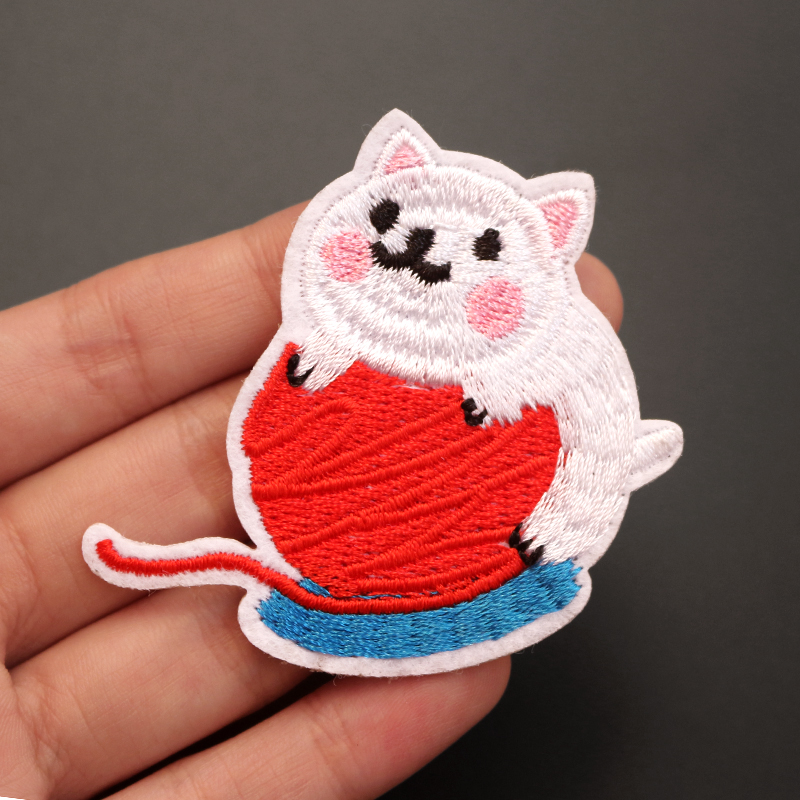 Cat Skeleton Cool colour White Iron on Embroidered Patch applique