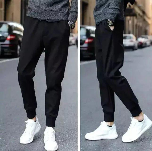 Korean-style Thin Slim Fit Pants Athletic Pants Summer Men Capri Casual Pants Pure Black Couples Leather Rope Harem Pants Fashio