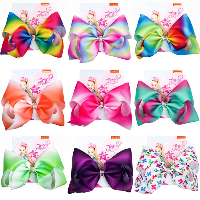 8 inch party Bows Large Hair Accessories for Girl Kids Hair Clip Ribbon Handmade Hair Bows Knot Jumbo party Siwa Dropshipping