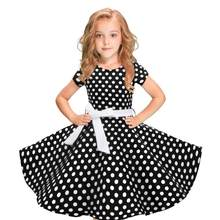 Kids Girls Vintage Dress Polka Dot Princess Swing Rockabilly Party Children's short sleeve polka dot lace retro dress 2Y-12Y(China)