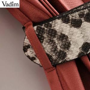 Image 3 - Vadim vrouwen strikje kraag jurk snake print riem ontwerp drie kwart mouw elegante vrouwelijke casual jurken vestidos QD113