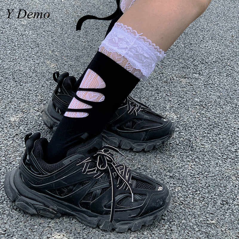 Harajuku Rock Girl Holes Stocking Grunge Style Slim Soft Women Stocking