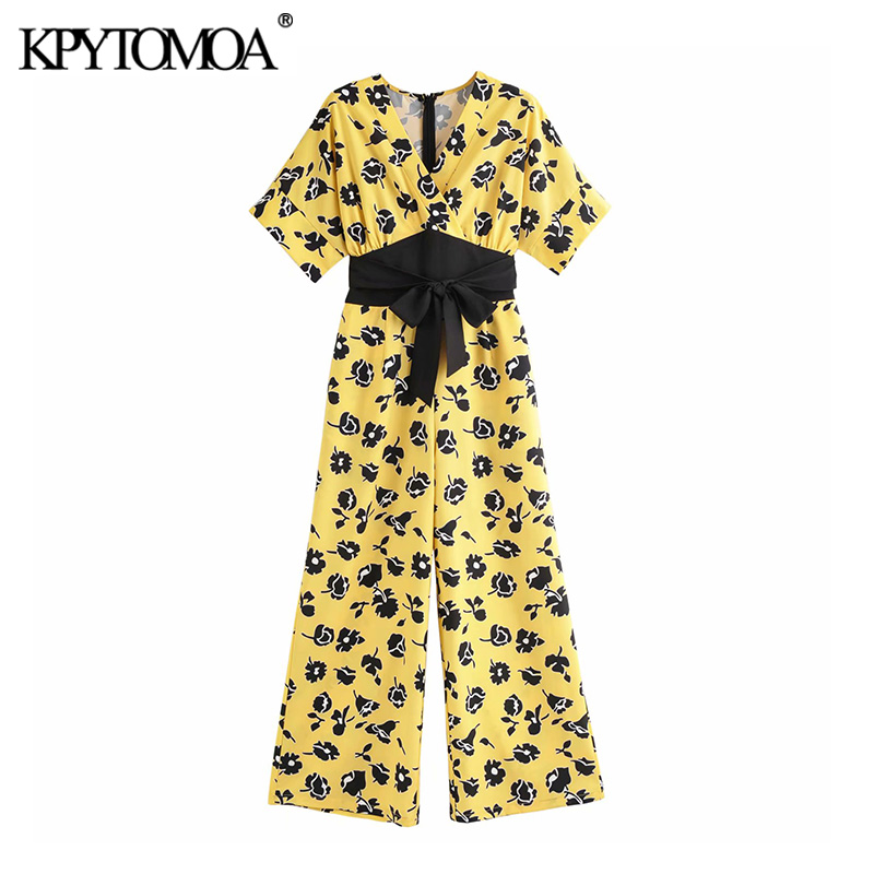 KPYTOMOA Women 2020 Vintage Floral Print Bow Tie Sashes Jumpsuits Chic Fashion Short Sleeve Back Zipper Female Playsuits Mujer