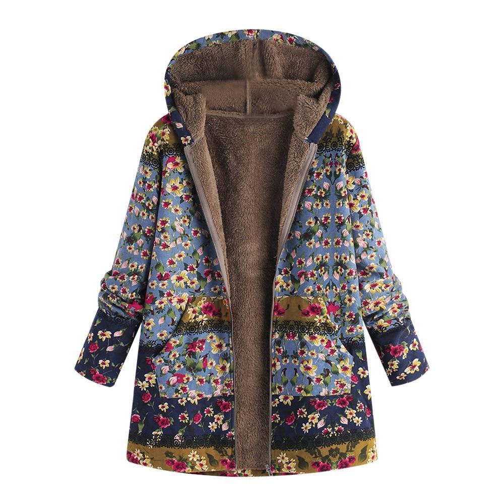 Female Trench Coat Women's Windbreaker тренч Ropa Winter Warm Outwear Floral Print Hooded Pockets Vintage Oversize Coats H4