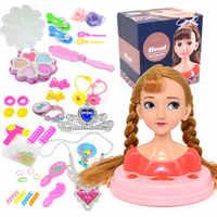 Juguete de moda para niños, conjunto de juego de simulación de maquillaje, cabeza de peinado, juego de belleza con secador de pelo, regalo de cumpleaños para niñas