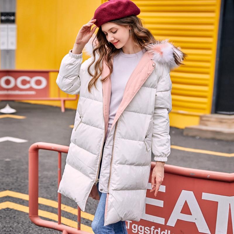 Winter Down Jacket Women Long Down Coat Female Both Side Snow Outwear Thick Warm White Duck Down Coats Jakcets LWL1168