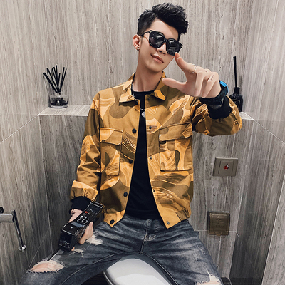 2019 nouvelle veste pour hommes version coréenne de la tendance de la chemise décontracté de la jeunesse printemps sauvage hommes ample imprimé veste