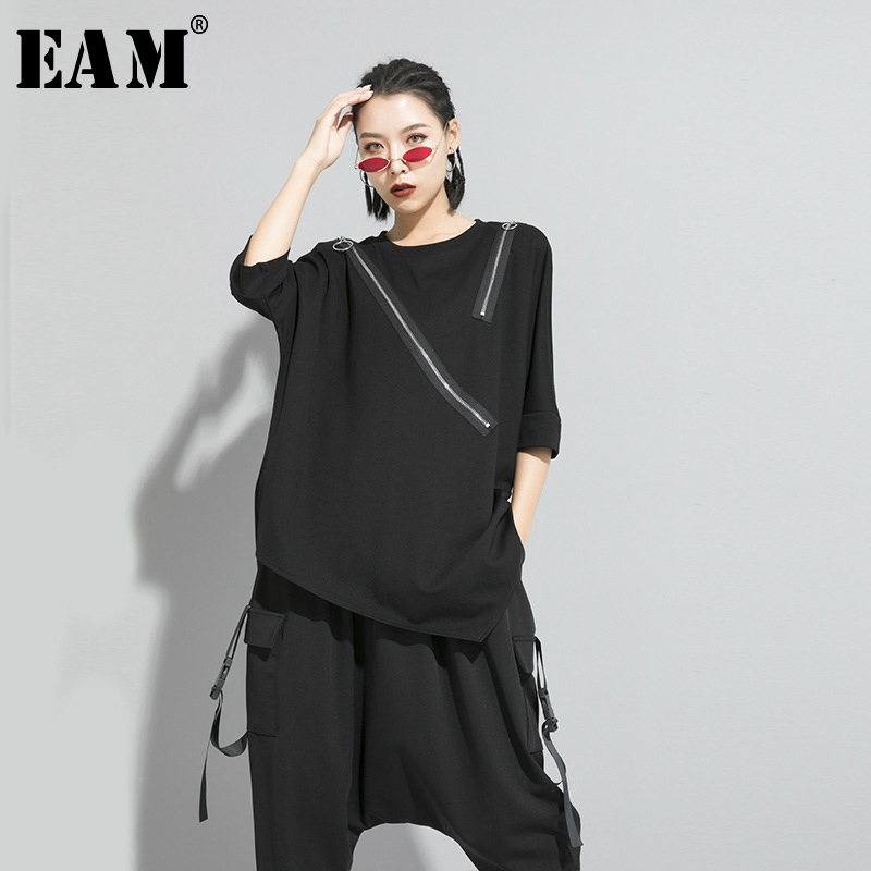 [EAM] Women Black Asymmetrical Sittch Big Size T-shirt New Round Neck Long Sleeve  Fashion Tide  Spring Autumn 2020 1S185