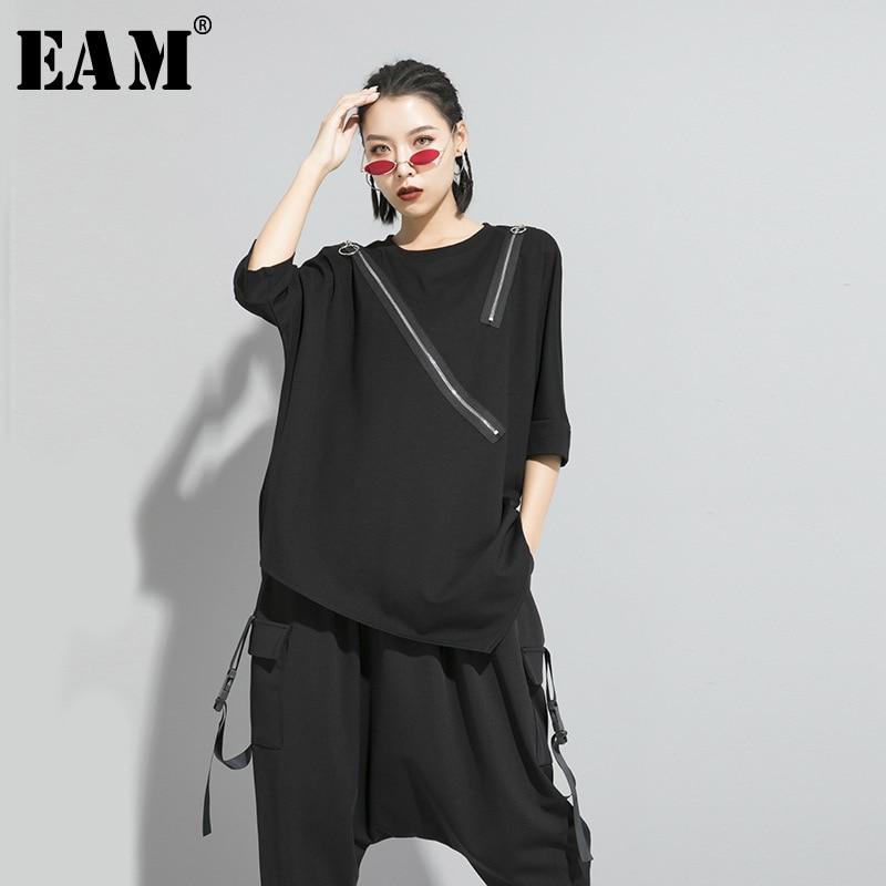 [EAM] Women Black Asymmetrical Sittch Big Size T-shirt New Round Neck Long Sleeve  Fashion Tide  Spring Autumn 2020 1S185