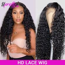 Upretty-Peluca de cabello humano transparente con malla Frontal prearrancada, peluca de encaje Frontal con malla Frontal, 360 densidad 200