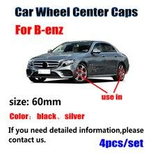 4 шт. 60 мм Черный Серебряный Центральная втулка колеса автомобиля крышки обода крышки для Mercedes Benz A B C CLA CLS G M R аксессуары
