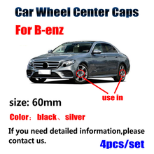 4 pçs 60mm preto prata centro da roda do carro hub tampas aro para mercedes benz a b c cla cls g m r acessórios