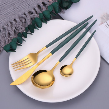 Flatware 18/10 Stainless Steel Cutlery Set Green Gold Dinnerware Spoon and Fork Set Fruit Forks for Kids Chopsticks Dropshipping