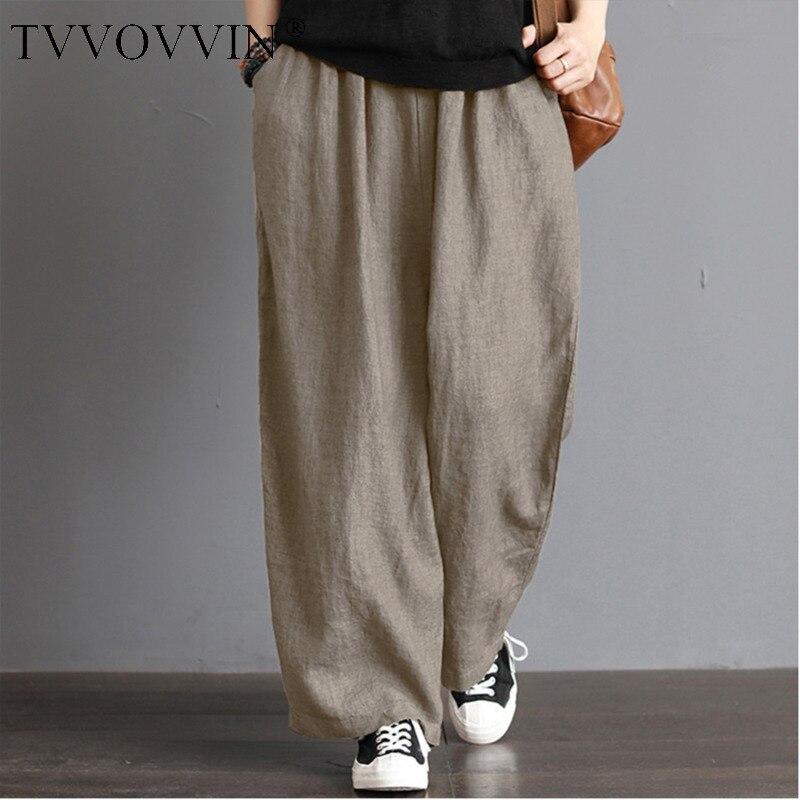 Plus Size CottonLinen Pants Women Casual Solid Wide Leg Trousers Autumn Large Vintage Pockets Elastic Waist Loose Pants 5xl V431