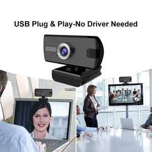 Веб-камера со штативом USB 1080P 360 ° видео Автоматическая веб-камера Встроенный стерео микрофон компьютер для видеозвонков
