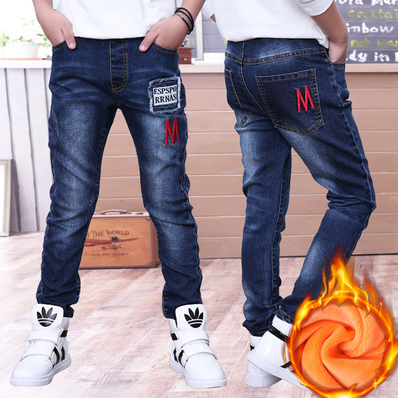 Boys Jeans Long-Trousers Baby-Boy Denim Children's Thicken Casual Slim Winter for Big title=