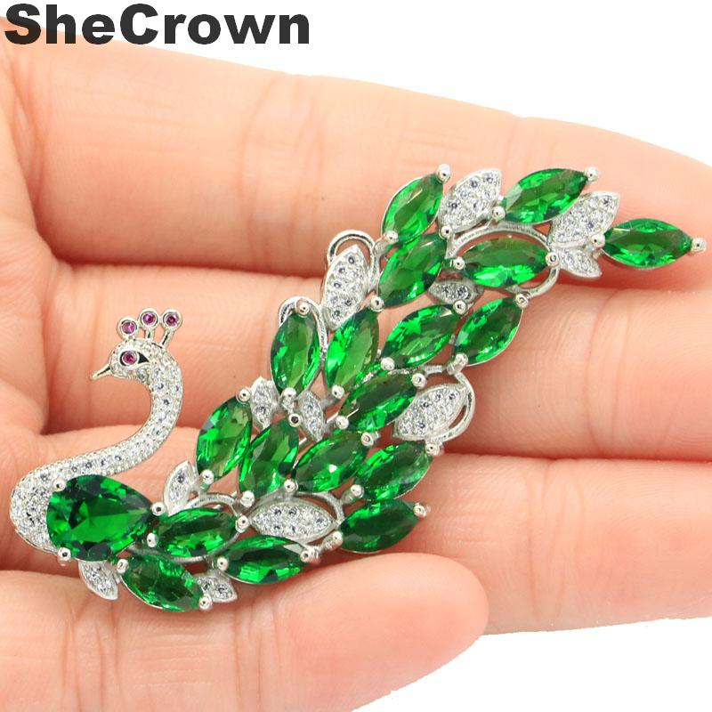 47x29mm Big Vase Shape Green Peridot Natural CZ Gift For Girls 925 Silver Brooch
