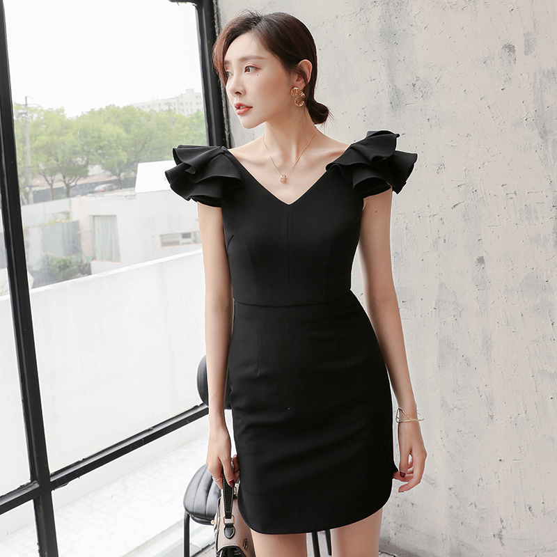 YIGELILA Women Black Sheath Dress Summer Sexy V neck Puff Sleeve Empire Slim Above Knee Solid Bodycon Party Dress 64802 in Dresses from Women 39 s Clothing
