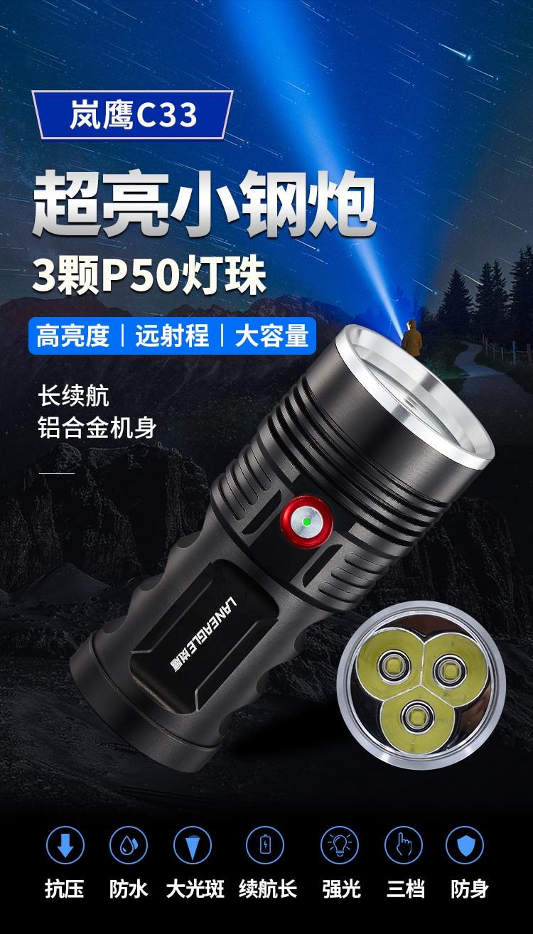 de longa distância rápida poderosa lanterna recarregável