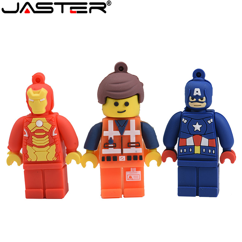 JASTER Promotion Lego Superhero Usb Flash Drive USB 2.0 64GB Memory Stick Pen Drive 4GB 8GB Pendrive 16GB 32GB