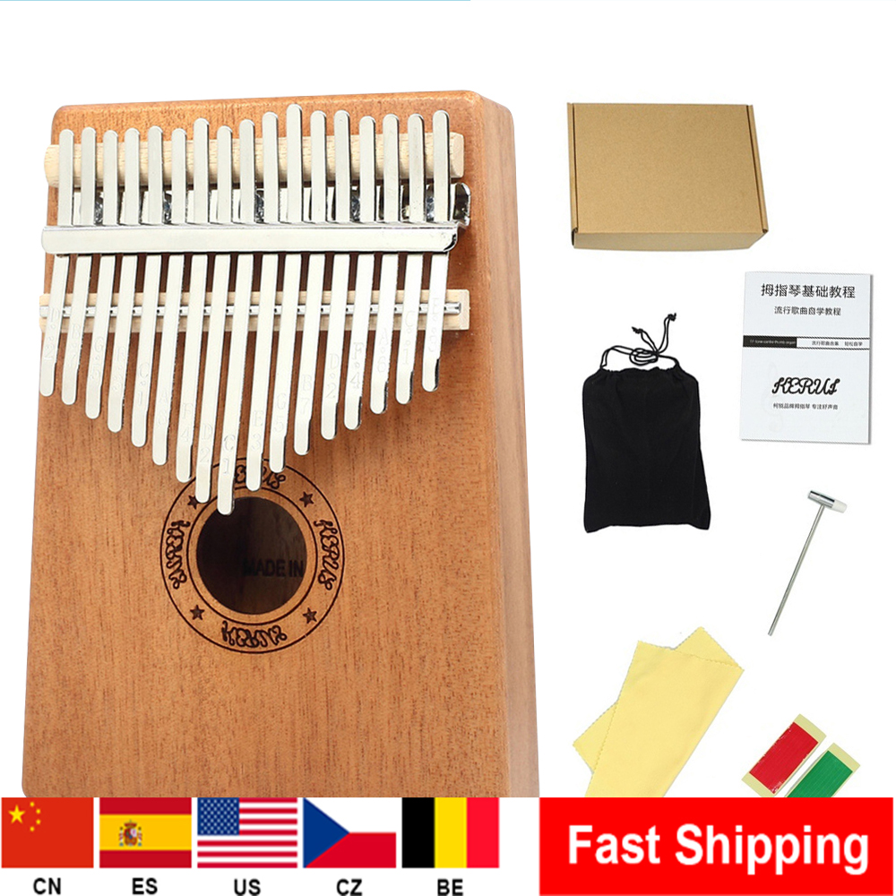Portable 17 Key Thumb Piano High-Quality Wood Mahogany Body Musical Instrument With Learning Book  Hammer For Beginner New