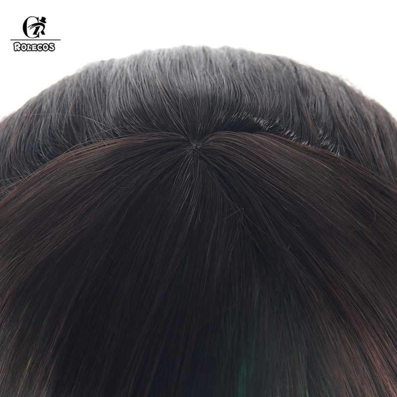 Rolecos kizuna ai cosplay cabelo vtuber olá mundo cosplay perucas ai-chan youtuber 60cm marrom rosa longo rabo de cavalo cabelo reto