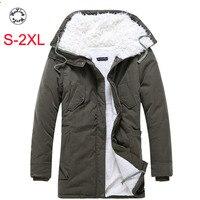 Woxingwosu winter men's parkas new furry thickened medium and long men s cotton coat men 's warm large cotton jacket S 2XL