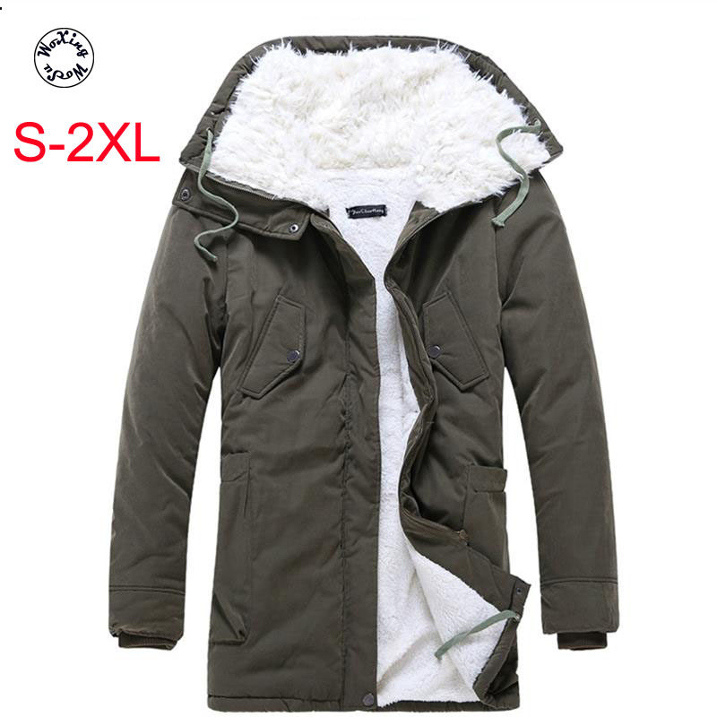 Woxingwosu Winter Men's Parkas New Furry Thickened Medium And Long Men S Cotton Coat Men 's Warm Large Cotton Jacket S-2XL