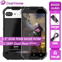 Original AGM X2 SE IP68 6000mAh Waterproof Mobile Phone 5.5FHD 6GB RAM 64 ROM Qualcomm MSM8976SG Octa Core Dual 12MP CAM NFC